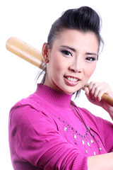 Asian woman with baseball bat on white background