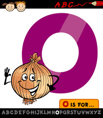 letter o with onion cartoon illustration