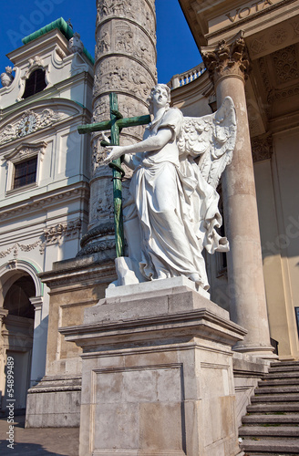 Statue of an angel in St. Charles Church. Vienna, Austria