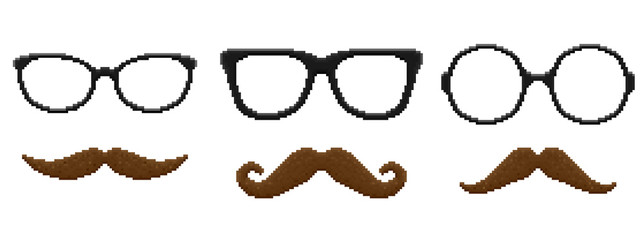 Set of pixel hipster glasses and mustache. Vector illustration.