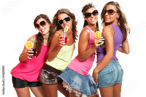 four girls fun with a drink
