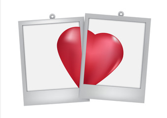 two heart in frame  white  background