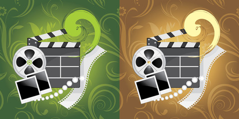 Film industry objects on the ornamental background