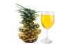 Picture pineapple slices stacked and Pineapple juice in glass.