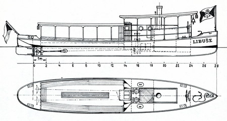 "Design of PPS steamboat ""Libuše"" (1885)"