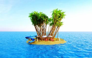 Isola tropicale, vacanza, naufragio, paradiso terrestre