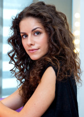 attractive woman with curly hair