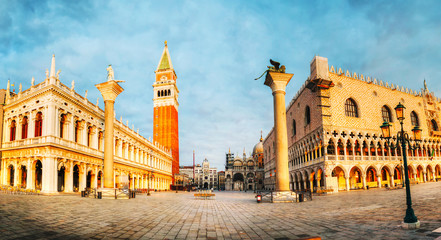 Panoramic view to San Marco square in Venice, Italy