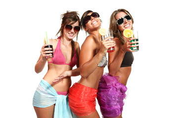 three girls fun with a drink, portrait in studio