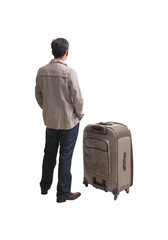 back of young man standing with big suitcase isolated white