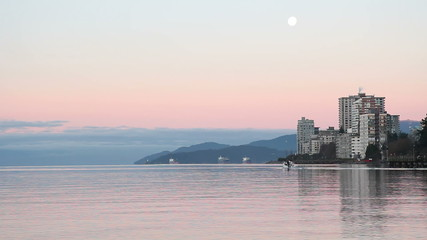 West Vancouver Morning Boat and Moonset