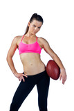 attractive woman with football