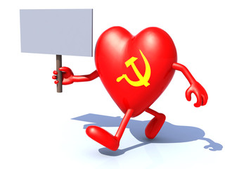 heart with arms and legs and communist symbol