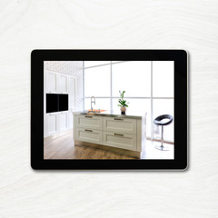digital tablet computer and interior image on screen