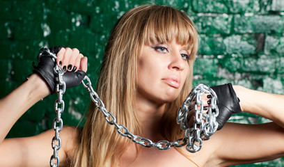 woman with iron chain