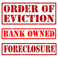 Bank owned, order of eviction, and foreclosure stamps