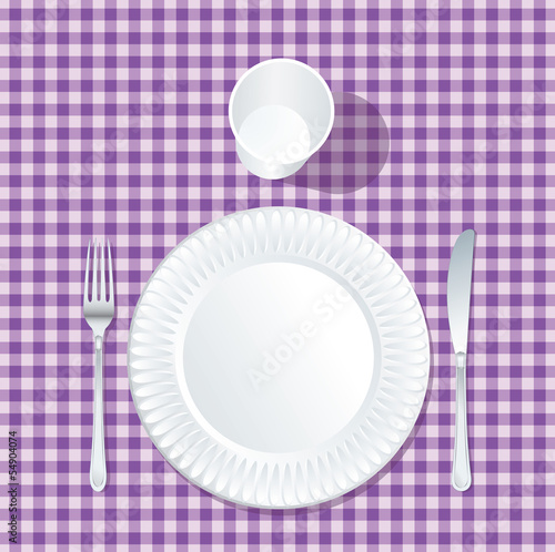paper plate purple table