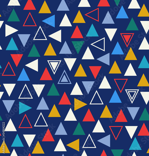 Geometric colorful seamless pattern with triangles