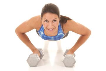 woman blue plaid halter top pushup front
