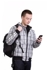 Student with backpack and cellphone isolated