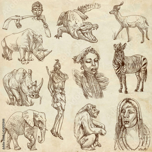 AFRICA - Collection of an hand drawn illustrations on old paper