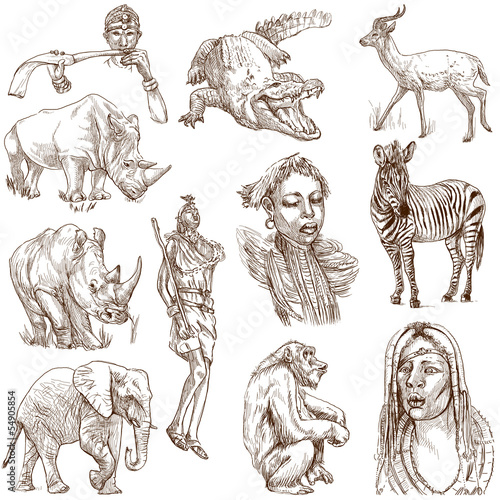 AFRICA - Collection of an hand drawn illustrations