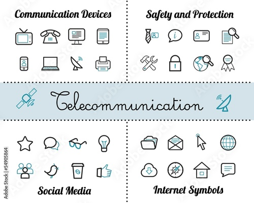 Telecommunication Icon Collection Set
