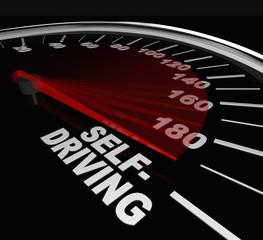 Rise of Self-Driving Autonomous Cars Speedometer Words