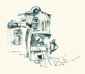 OLD houses BLUE INK MINIATURE ILLUSTRATION SKETCH