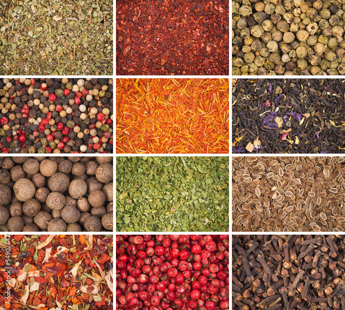 A collection of different spices - background