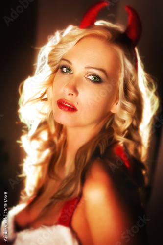 canvas print picture Sexy santa woman with horn