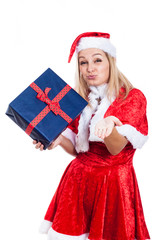 Christmas woman with present sending kiss
