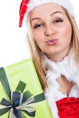 Christmas woman sending kiss
