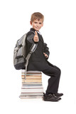 Schoolboy sitting on books