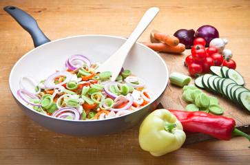 Sliced fresh vegetables in pan