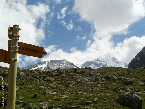 Signpost near Bishorn 4153 m, Wallis Alps, Switzerland