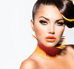 Fashion Model Girl Portrait with Yellow and Orange Makeup