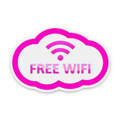 Pink Free Wifi Cloud Icon