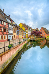 Colmar, Petit Venice, water canal and houses. Alsace, France.