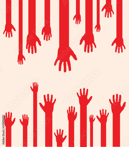 a set of red abstract hand silhouettes