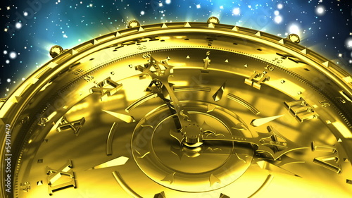 Golden Clock and Spinning Galaxy