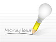 money idea message written with a light bulb