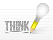 think message written with a light bulb pencil.