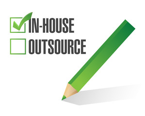 in-house outsource check mark illustration design