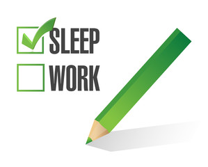 work sleep check mark illustration