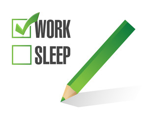 work sleep check mark illustration design