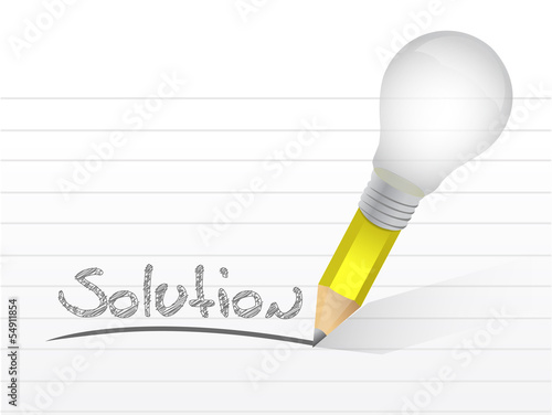 solution message written with a light bulb pencil.