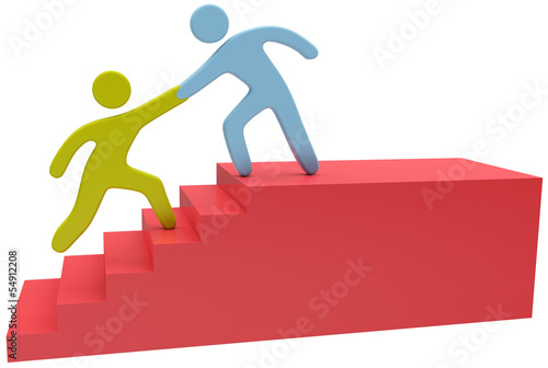 People help hand join up stairs