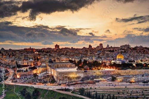 Foto op Aluminium Midden Oosten Jerusalem Old City Skyline