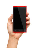 Hand holding Red Smartphone with blank screen